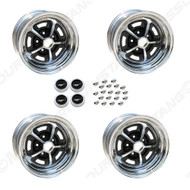"""1969-1973 Ford Mustang Magnum 500 wheels, two 15"""" X 7"""" (4 1/4"""" rear spacing) and two 15"""" x  8"""" (4 1/2"""" rear spacing) with 2 1/8"""" center hole."""