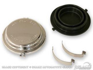 1964-66 Ford Mustang master cylinder cap includes rubber diaphragm, chrome.