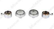 1967 Ford Mustang radio knobs and bezels, set.