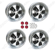"1965 Ford Mustang styled steel wheels, 14"" X 5"", chrome rim with charcoal paint, set of four. 3 3/4"" back spacing."