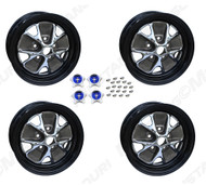"1967 Ford Mustang styled steel wheels, 14"" X 5 1/2"", with black rims, set of four.  4"" back spacing."