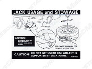 1967-68 Jacking Instructions Decal