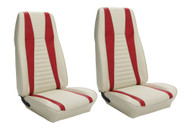 1971-1973 Ford Mustang Mach I front buckets, upholstery, pair. Covers two front buckets. Made in USA.