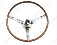 1965-1966 Ford Mustang deluxe steering wheel assembly, with deluxe wheel horn ring and center cap.