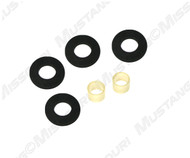 1965-1967 Ford Mustang gear shift insulator bushings, automatic transmission, set.  Black rubber washers which install on each end of transmission selector rod. Automatic cars only.