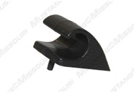 1983-1989 Ford Mustang convertible sunvisor retainer hook, black plastic.