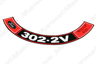 1970-71 Air Cleaner Decal 302 2V Regular Fuel