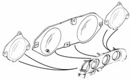 1969-1970 Ford Mustang instrument lens without factory tachometer, set.  Plastic is optically clear for fatigue-free viewing.