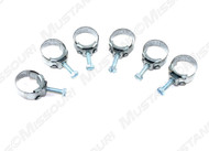 1960-1973 Ford heater hose clamps, set of six.  Correct stamp, Wittek Mfg Co, Chicago, USA.