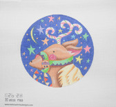 Hand-Painted Needlepoint Canvas - Melissa Shirley Designs - 1126-2H - Fanciful Reindeer Ornament