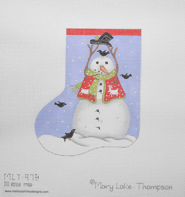 Hand-Painted Needlepoint Canvas - Mary Lake Thompson - MLT-97B - Black Bird Snowman Mini
