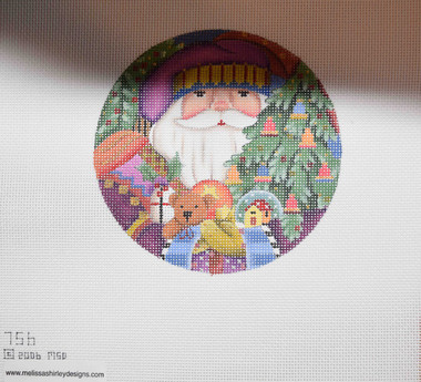 Hand-Painted Needlepoint Canvas - Melissa Shirley Designs - 756 - Santa Ornament