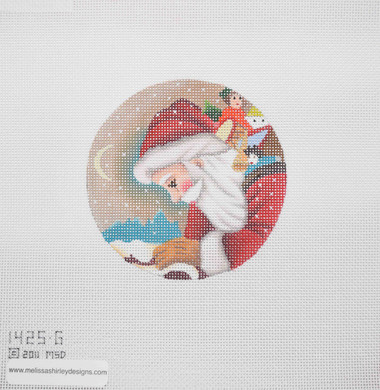 Hand-Painted Needlepoint Canvas - Melissa Shirley Designs - 1425-G - Santa Ornament
