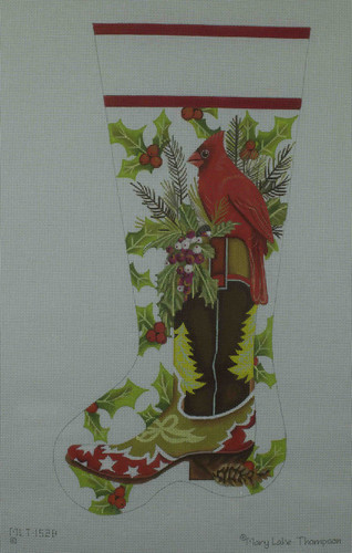 Hand-Painted Needlepoint Canvas - Mary Lake Thompson - MLT152-B - Cardinal Boot Stocking