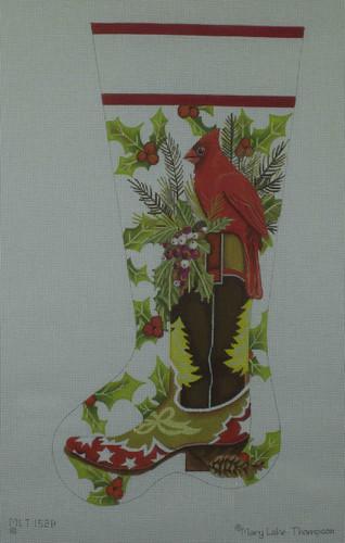 Hand-Painted Needlepoint Canvas - Mary Lake Thompson - MLT152-B - Cardinal Boot Stocking