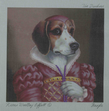Hand-Painted Needlepoint Canvas - Creative Needle - NA - Beagle - The Duchess
