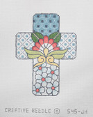 Hand-Painted Needlepoint Canvas - Creative Needle - 545-JH - Talavera Cross Little Blue Flowers