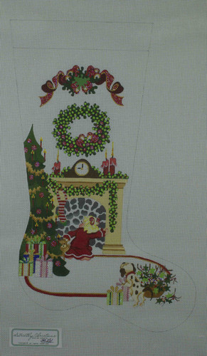 Hand-Painted Needlepoint Canvas - Strictly Christmas - CS-281 - Girl Looking for Santa in Chimney