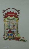 Hand-Painted Needlepoint Canvas - Strictly Christmas - CS-114 - Boy Toy Store Window
