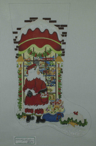 Hand-Painted Needlepoint Canvas - Strictly Christmas - CS-256 - Santa Toy Store Window