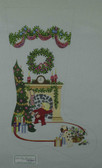 Hand-Painted Needlepoint Canvas - Strictly Christmas - CS-282NC - Boy Lookinf or Santa in Chimney
