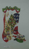 Hand-Painted Needlepoint Canvas - Strictly Christmas - CS-390 - Dog watching Santa on Stairs