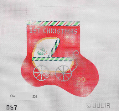 Hand-Painted Needlepoint Canvas - Julia's Needleworks - O67 - Baby's First Christmas