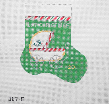 Hand-Painted Needlepoint Canvas - Julia's Needleworks - O67-G - Baby's First Christmas