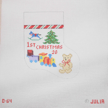 Hand-Painted Needlepoint Canvas - Julia's Needleworks - O64 - Baby's First Christmas