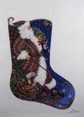 Hand-Painted Needlepoint Canvas - Susan Roberts - AXS381 - Sledding Santa
