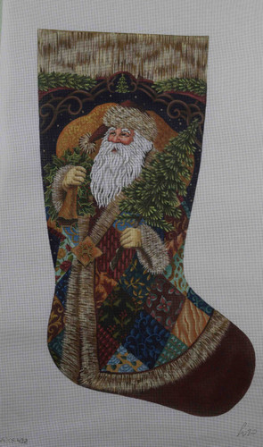 Hand-Painted Needlepoint Canvas - Susan Roberts - AXS402 - Patchwork Santa