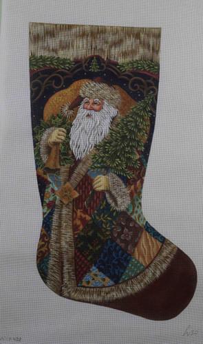 Hand-Painted Needlepoint Canvas - Susan Roberts - AXS402 - Patchwork Santa