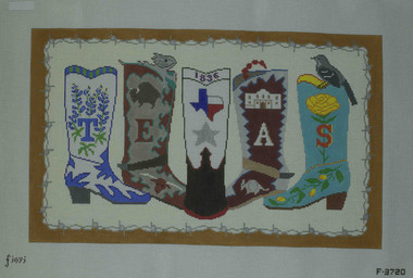 Hand-Painted Needlepoint Canvas - Dream House Ventures - F3720 - Texas