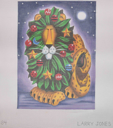 Hand-Painted Needlepoint Canvas - Larry Jones - LJ-84 - Christmas Lion