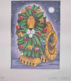 Hand-Painted Needlepoint Canvas - Larry Jones - LJ-84 - Christmas Lion