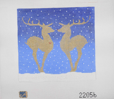 Hand-Painted Needlepoint Canvas - Amanda Lawford - 22056 - Reindeer Silhouette