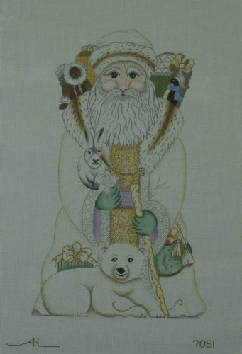 Hand-Painted Needlepoint Canvas - Amanda Lawford - 7051 - Santa With Polar Bear
