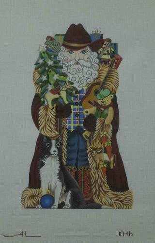 Hand-Painted Needlepoint Canvas - Amanda Lawford - 10-16 - Western Santa
