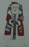 Hand-Painted Needlepoint Canvas - Amanda Lawford - 7018 - Patriotic Santa