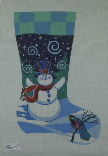 Hand-Painted Needlepoint Canvas - Ruth Schmuff - 1480 - Snowman Stocking