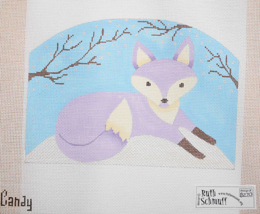 Hand-Painted Needlepoint Canvas - Ruth Schmuff - 8270 - Purple Fox