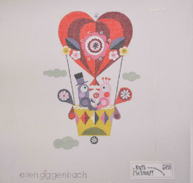 Hand-Painted Needlepoint Canvas - Ellen Giggenbach - 6521 - Bird Balloon