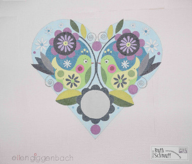 Hand-Painted Needlepoint Canvas - Ellen Giggenbach - 6513 - Birds, Flowers and Heart