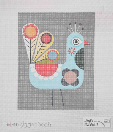 Hand-Painted Needlepoint Canvas - Ellen Giggenbach - 6517 - Bird