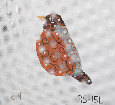 Hand-Painted Needlepoint Canvas - Amanda Lawford - RS-15L - Bird Ornament