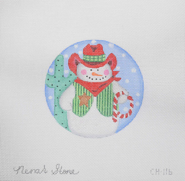 Hand-Painted Needlepoint Canvas - Nenah Stone - CH-116 - Cowboy Snowman Ornament