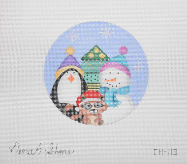 Hand-Painted Needlepoint Canvas - Nenah Stone - CH-113 - Snowman Ornament