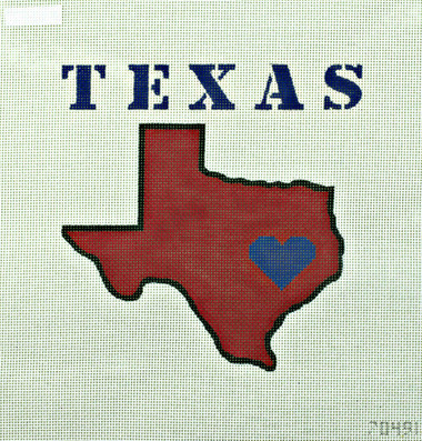 Hand-Painted Needlepoint Canvas - Unique NZ Designs - 70491 - Heart of Texas