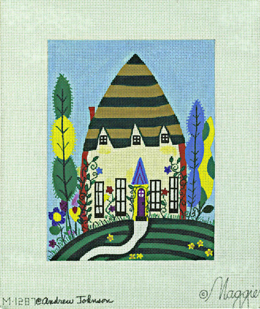 Hand-Painted Needlepoint Canvas - Andrew Johnson - M-1287 - Fanciful House