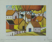 Hand-Painted Needlepoint Canvas - Cathy Horvath-Buchanan - M-1687 - Town Roadway View